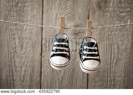 A Card For The Birth Of A Child, Shoes To Hang On Clothespins, The First Children's Shoes, The First