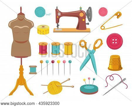 Sewing And Knitting, Needlework Set. Vector Illustrations Of Tailor Equipment And Supplies. Cartoon