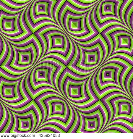 Optical Illusion Seamless Pattern. Moving Repeatable Texture Of Green Purple Striped Fancy Shapes.