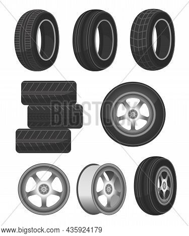 Car Wheel, Disk And Tire Set. Cartoon Vector Illustrations Of Rubber Tires With Different Tread Patt