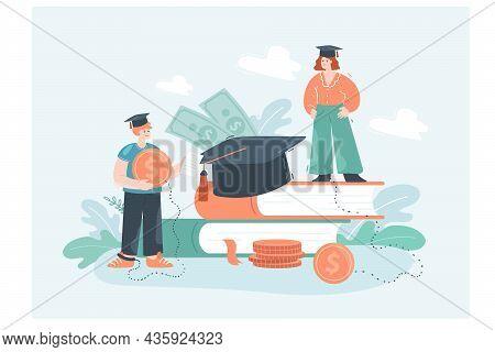 Cartoon Students Taking Loans For University Studies. Huge Books, Character Getting Scholarship, Mon