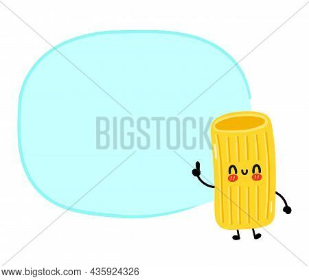Cute Funny Macaroni Pasta Noodles Character With Text Box. Vector Hand Drawn Cartoon Kawaii Characte
