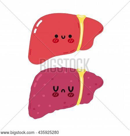 Cute Funny Healthy And Unhealthy Liver Organ Character. Vector Hand Drawn Cartoon Kawaii Character I