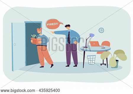 Angry Businessman Dismissing Worker. Unhappy Fired Woman Employee With Box Leaving Office Flat Vecto
