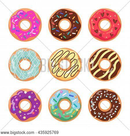 Glazed Doughnuts Flat Vector Illustrations Set. Trendy Donuts Pattern, Sweet Circle Orange Cakes Fro