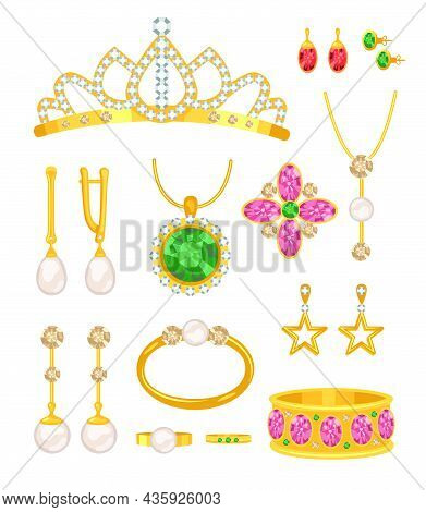 Cartoon Gold Jewelry Set. Vector Illustrations Of Golden Accessories With Precious Stones Or Pearls,