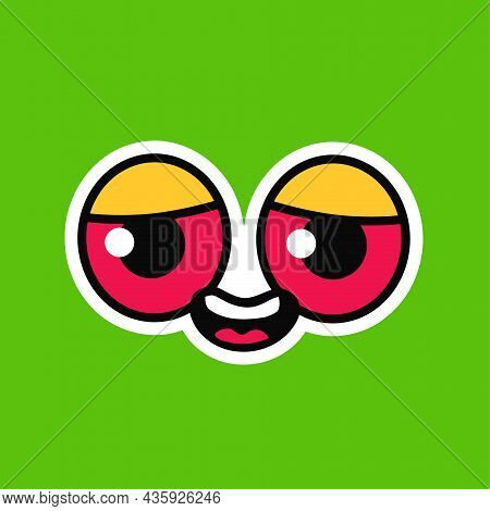 Happy Smile Face With Red Eyes. Vector Hand Drawn Doodle Cartoon Illustration Icon. Stoned Red Eyes,