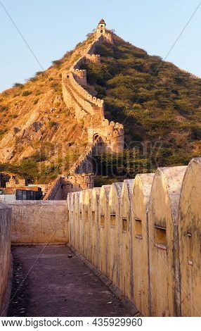Fortification With Bastions Of Jaigarh Fort And Amer Or Amber Town  Near Jaipur City India Evening V