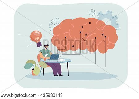 It Engineer Working With Computer Using Digital Data. Process Of Creating Big Artificial Mind Connec