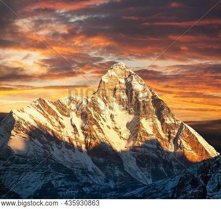 Mount Nanda Devi, One Of The Best Mounts In Indian Himalaya, Seen From Joshimath Auli, Uttarakhand,