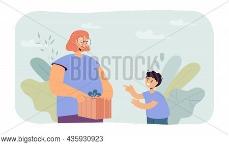 Mother Giving Surprise Gift To Happy Little Son. Woman Holding Present Box With Bow Flat Vector Illu
