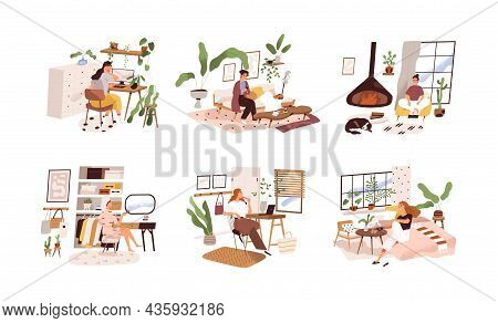 Happy Women Relax And Work At Home In Modern Room Interiors. Lifestyle Scenes Set With Females Stay