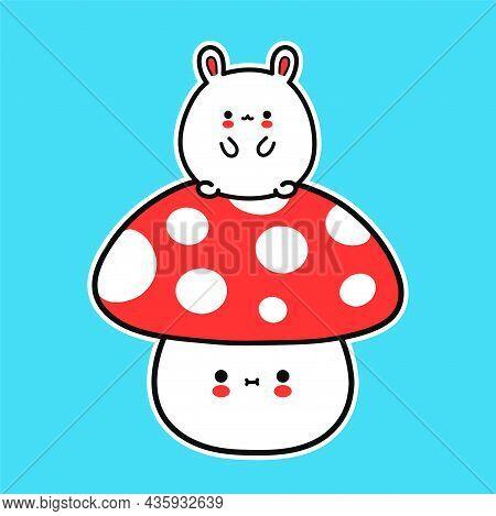 Cute Funny Little Baby Bunny On Amanita Mushroom. Vector Hand Drawn Cartoon Kawaii Character Illustr