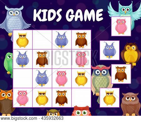 Sudoku Game Cartoon Funny Owl Birds And Owlets. Kids Vector Riddle With Funny Characters On Chequere