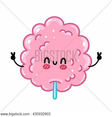 Cute Funny Sweet Cotton Sugar Candy. Vector Hand Drawn Cartoon Kawaii Character Illustration Sticker