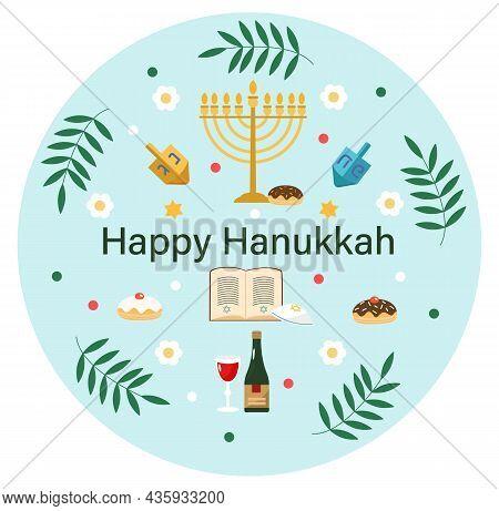 Happy Hanukkah, Jewish Holiday. Postcard Design. Holiday Symbols (menorah, Candles, Donut, Wine, Dre