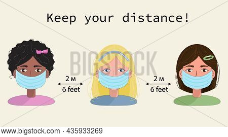 Cute Cartoon Vector Social Distancing, 3 Girls Keep Their Distance In Civil Society People To Protec