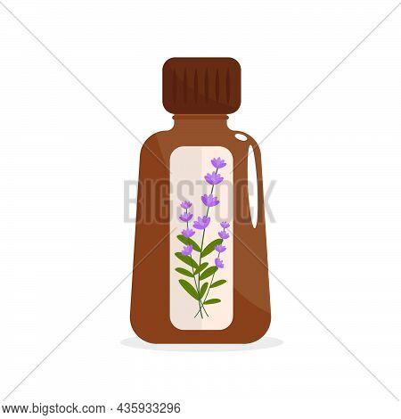 Homeopathy Natural Medicine. Healthy Treatment Brown Bottle With Oil Extracts Of Lavender Herb Homeo