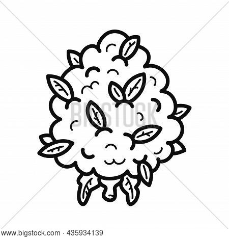 Weed Cannabis Bud Flower Outline Page For Coloring Book. Vector Hand Drawn Cartoon Kawaii Character