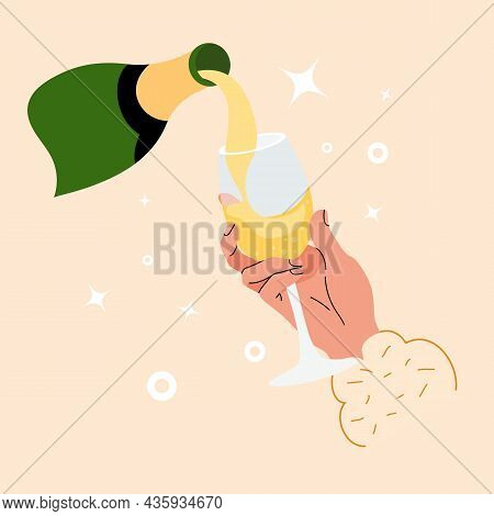 Sparkling Wine From Bottle Is Poured Into Goblet. Graphic Design For Gourmet Or Sommelier Tasting An