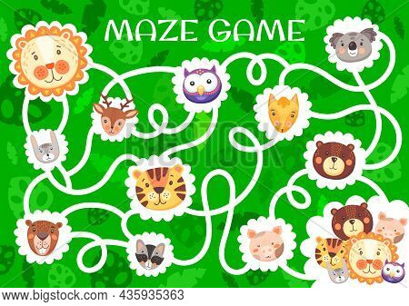 Labyrinth Maze With Cute Funny Animals. Kids Vector Board Game With Tangled Path And Cartoon Charact