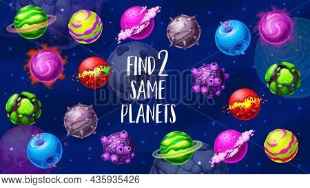 Cartoon Galaxy Space Planets, Find Two Same Planets Vector Game. Test For Children With Cosmic Spher