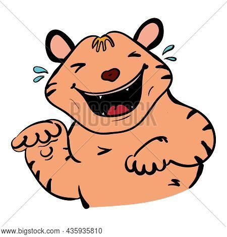 Cute Tiger Cub Laughs, Vector Isolated Animal