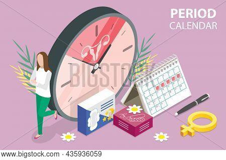 3d Isometric Flat Vector Conceptual Illustration Of Women Period Calendar , Ovulation Calculator