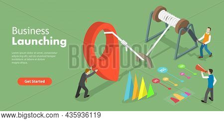 3d Isometric Flat Vector Conceptual Illustration Of Startup Launching, Setting Up New Business