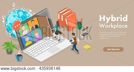 3d Isometric Flat Vector Conceptual Illustration Of Hybrid Workplace, Teleworking And Business Teamw