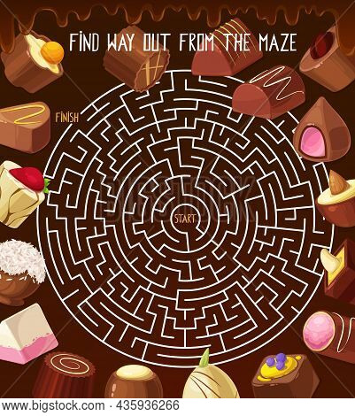 Kids Riddle Labyrinth Maze With Chocolate Truffle, Roasted Nuts Candy, Praline Sweets. Vector Round