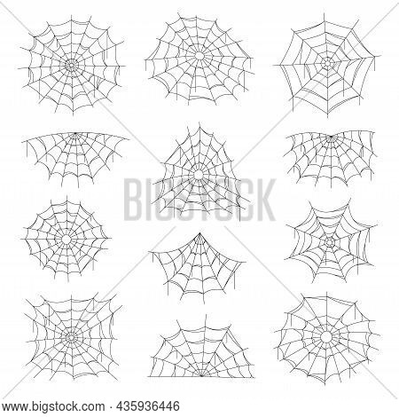 Cobweb And Spider Web Halloween Isolated Net. Vector Spiderwebs Of Round, Corner And Half Shape. Spo