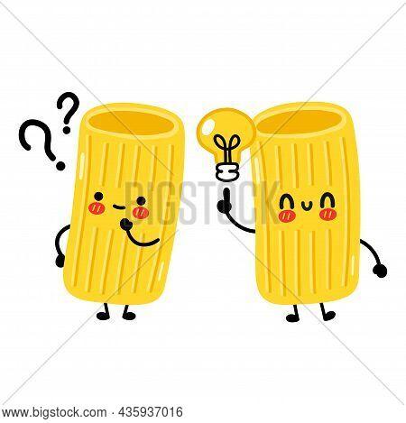 Cute Funny Macaroni Pasta Noodles Character With Idea Bulb. Vector Hand Drawn Cartoon Kawaii Charact