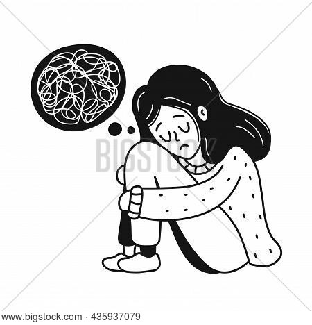 Sad, Unhappy Depressed Young Woman With Tangle Of Thoughts.psychology, Depression, Bad Mood, Stress