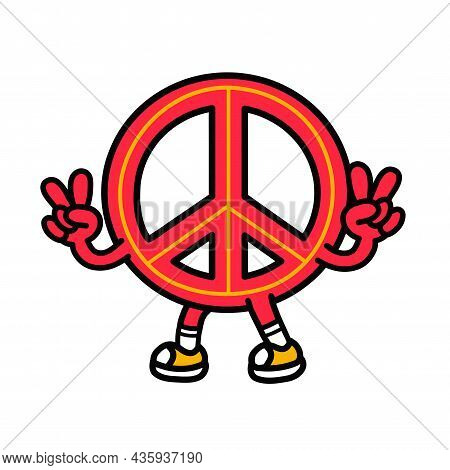 Pacifism Sign Show Peace Gesture. Vector Hand Drawn Doodle 90s Style Cartoon Character Illustration.