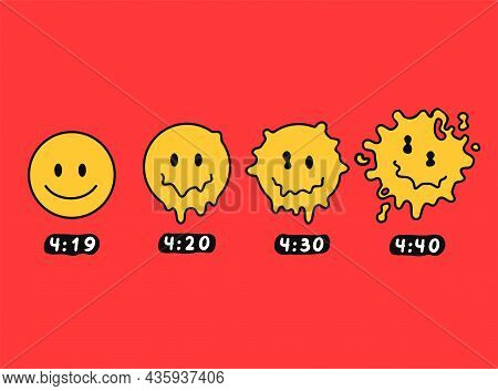 Funny Melt Smile Faces. 4:20 Marijuana, Weed, Cannabis Print For Poster, T-shirt, Card. Vector Hand