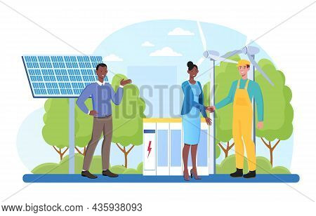 Clean Energy Concept. Man And Woman Install Solar Panels And Fans To Get Energy From Nature. Alterna