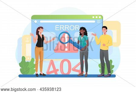 Concept Of Fatal Error. Men And Women Trying To Find Cause Of Problem.404. Technical Malfunction Of