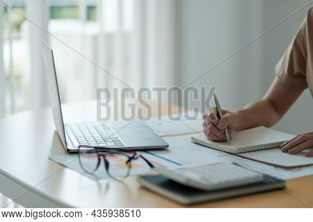 Accountant Woman Working Audit And Calculating Expense Financial Annual Financial Report Balance She