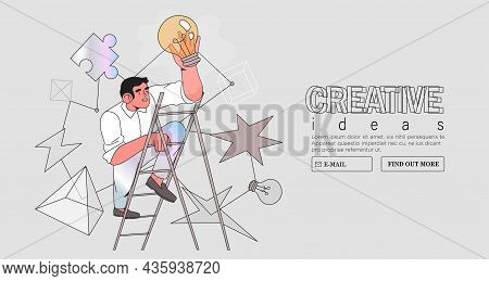 Business Vision. Concept Career Growth. Career, Start Up, Take-off On The Career Ladder. Vector Illu