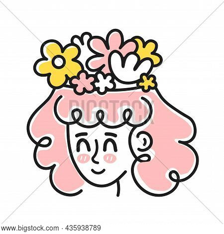 Cute Woman Head With Flowers Inside Head. Good Mood, Mental Health, Emotional Concept.vector Cartoon