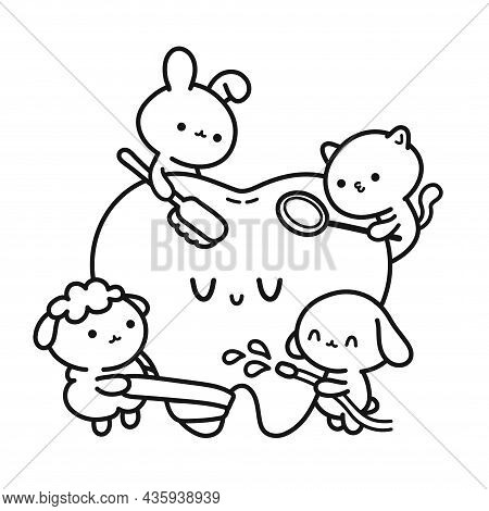 Cute Funny Animals Dentists Cleaning Patient Tooth Page For Coloring Book. Vector Hand Drawn Cartoon