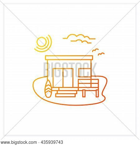 Beach Hut Gradient Icon. Wooden Comfortable House On Beach. Surfboards. Seascape. Rest Concept. Isol