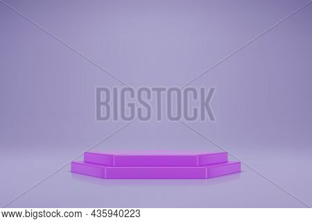 3d Pastel Purple Double Hexahedral Podium On Light Lilac Background
