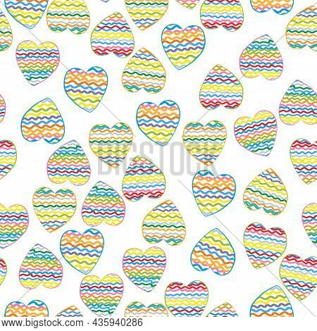 Simple Cute Seamless Pattern With Handdrawn Hearts For Packaging And Fabric, Flat Vector Illustratio