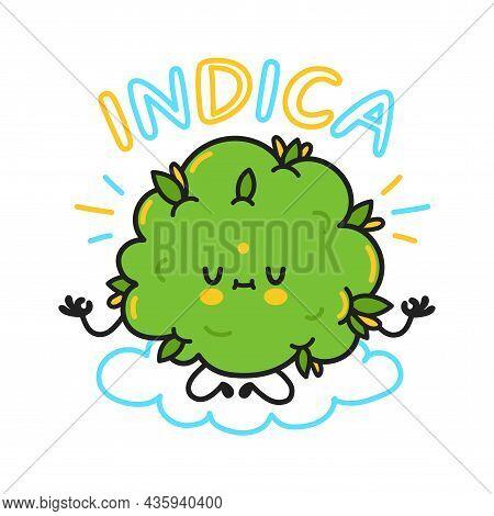 Cute Weed Cannabis Bud. Indica Quote. Vector Cartoon Character Flat Line Illustration. Weed, Marijua