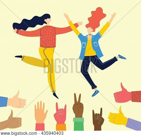 Concept Of Young People Jumping On Blue Background. Stylish Modern Vector Illustration Card With Hap