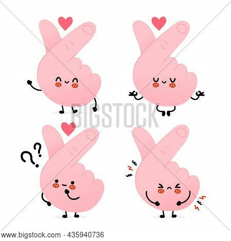 Cute Funny Korean Love Gesture Symbol.vector Hand Drawn Doodle Line Cartoon Kawaii Character Illustr