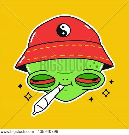 Funny Alien With Cannabis Weed Joint In Mouth. Vector Doodle Cartoon Character Illustration Design.