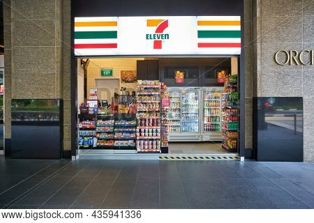 SINGAPORE - CIRCA JANUARY, 2020: cash desk and goods on display at 7-eleven convenience store in Singapore.